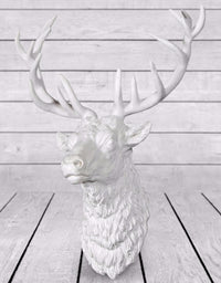 Large White Stag Wall Head