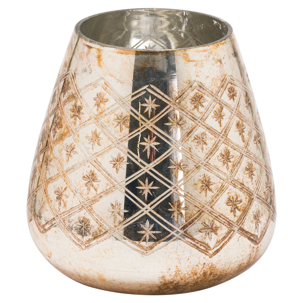Burnished Etched Glass Candle Holder