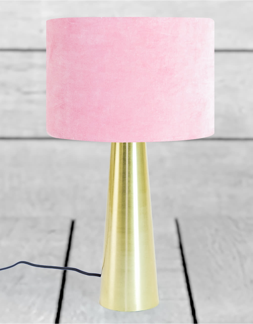 Brass Column Table Lamp With Pale Pink Velvet Shade
