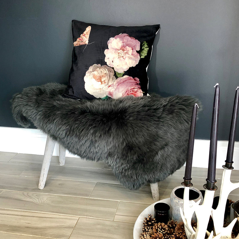 Bettys Barn Interiors - Charcoal Sheepskin Rug draped on wooden bench