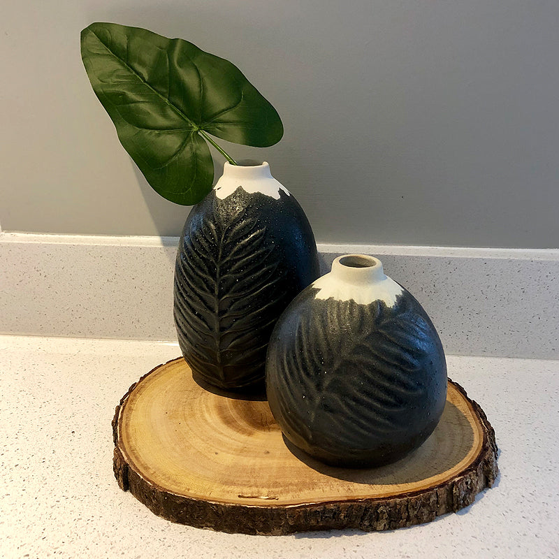 Sidney Leaf Embossed Ceramic Bud Vase in Matt Black at Bettys Barn Interiors