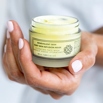 Vegan moisturizing mask for dry skin and anti-aging skin care.