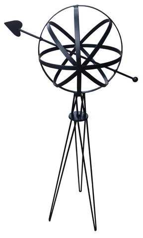 Metal Garden Sphere w/Hairpin Base - Black (#1323) - Garden Sundials - 1