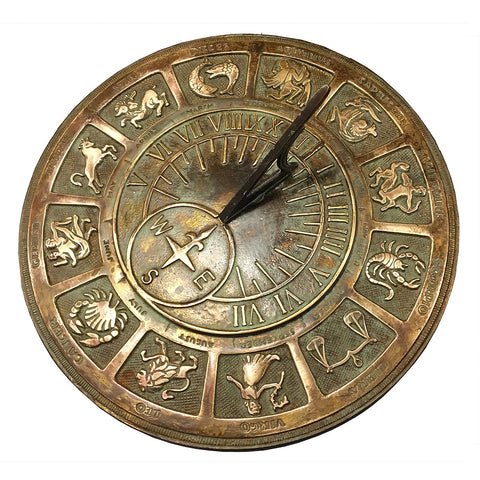 Solid Brass Zodiac Sign Sundial (1920)