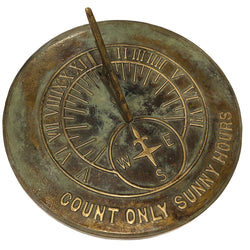 Solid Brass Count Only Sunny Hours Sundial (2120)