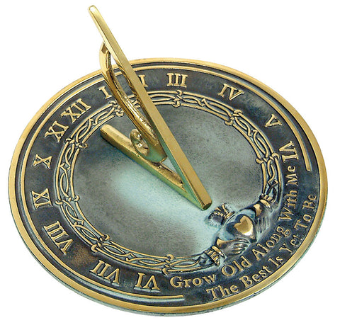 "Solid Brass Grow Old With Me Sundial 10"" Dia. (#2308) - Garden Sundials - 1"