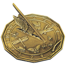 "Solid Brass Butterfly Sundial 8.5"" Dia. Old Finish - Antique Brass - Only 1 Piece Available"