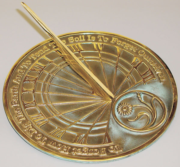 "Solid Brass Gardeners Reflection Sundial 10"" Dia. (#2325) - Garden Sundials"