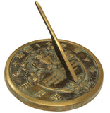 "Solid Brass Henry David Thoreau Owl Sundial 8.5"" Dia. Aged Patina Finish (#2329)"