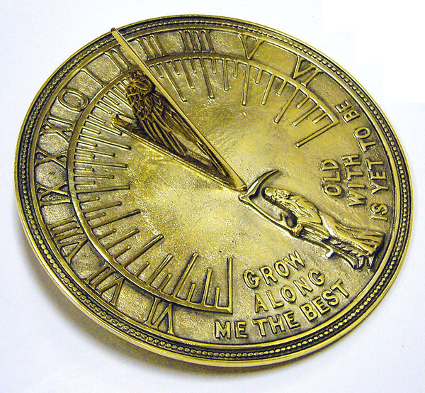 "Solid Polished Brass Father Time Sundial 11.5"" Dia. (#2330) - Garden Sundials"