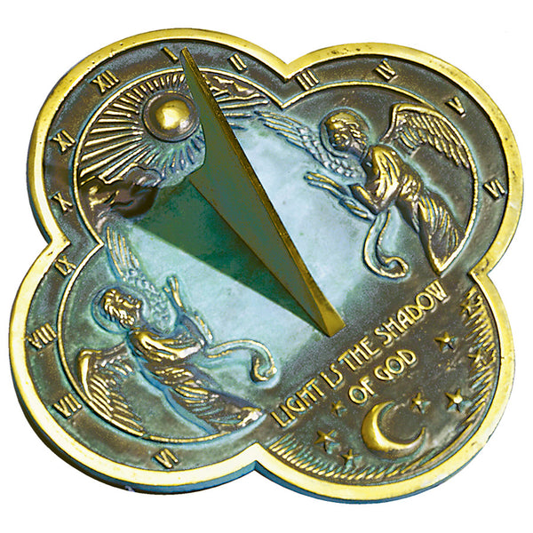 Angel Brass Sundial - In Verdigris with Polished Highlights. Special cost