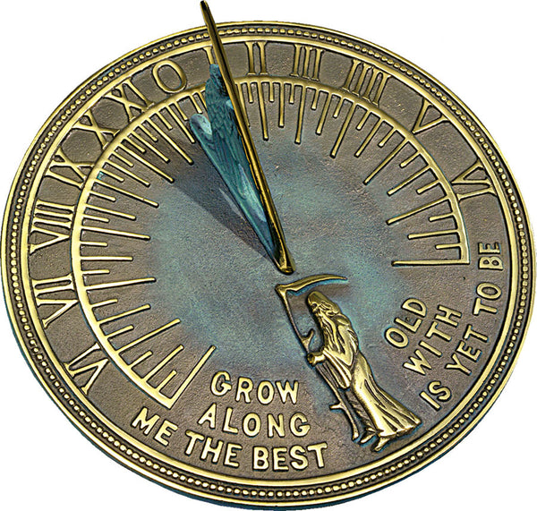 "Solid Brass Verdi Father Time Sundial 11.5"" Dia. (#2345) - Garden Sundials"