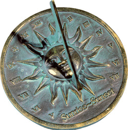 "Solid Brass Sunrise ~ Sunset Sundial 8.5"" Dia. (#2370) - Garden Sundials"