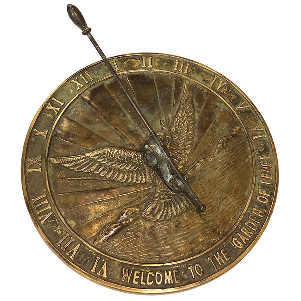 Solid Brass Peace Dove Sundial (#2378)