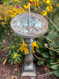 "Cast Aluminum Spindle Sundial Base With Faux Aged Brass Finish 22"" Ht (#B30-V)"