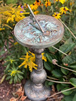 "Cast Aluminum Rococo Sundial Base With Faux Aged Brass Finish 22"" Ht (#B34)"