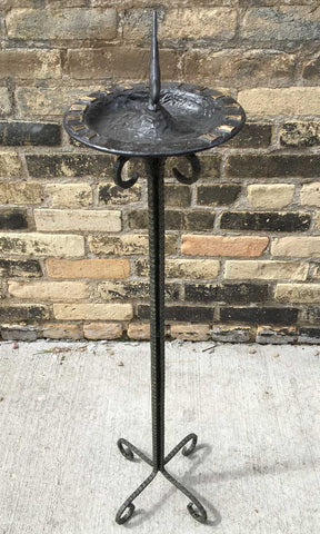 Hammered Steel Pedestal -no spikes  - One Of A Kind (#B82S) - Garden Sundials - 2