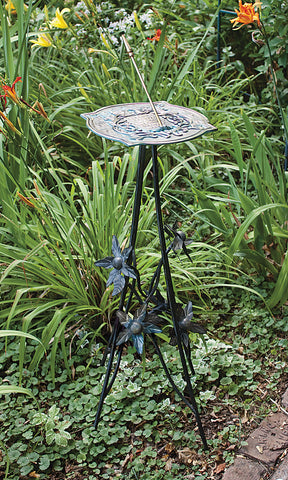 Wrought Iron Floral Pedestal Base (#B86) - Garden Sundials - 2