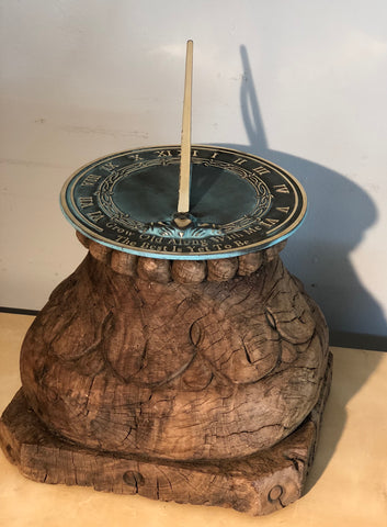 Large Carved Wood Sundial Base - Vintage, Architectural Salvage From India, One of a kind (NG623_110)