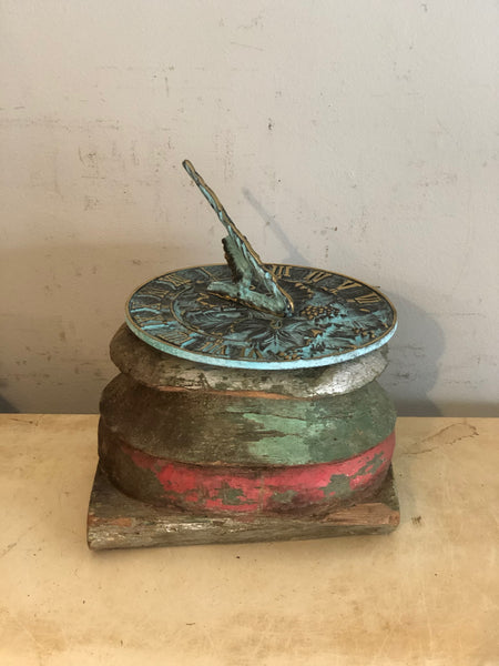 Small Wood Antique Plinth With Nice Patina