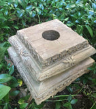 Handcarved Wood Sundial Pedestal / Plinth - architectural salvage from India (NG622_2) - Garden Sundials - 4