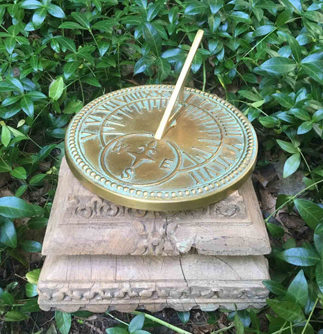 Handcarved Wood Sundial Pedestal / Plinth - architectural salvage from India (NG622_2) - Garden Sundials - 1