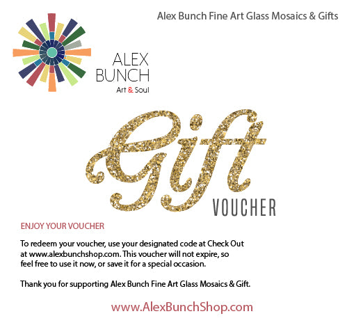 Alex Bunch Fine Art Glass Mosaics Gift Card  $10 - $200