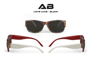 AB Love Luxe Black Shades - Sunglasses (Full Bold Color with Ivory Logo Sides)