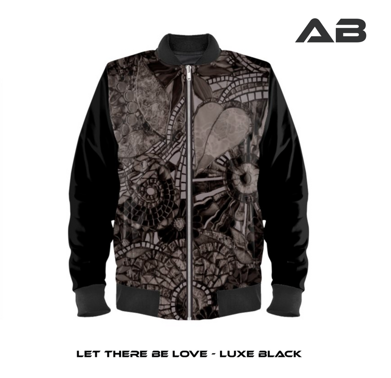 AB Love Luxe Black Satin Bomber Jacket