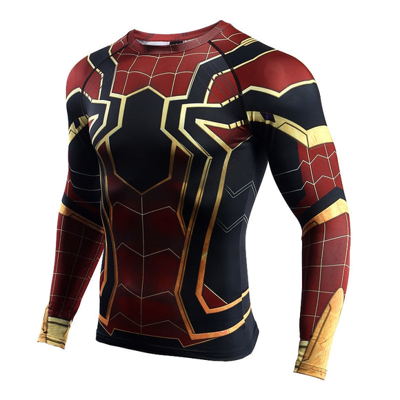 Spiderman 3D Printed T shirts Men Compression Shirts Long Sleeve