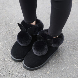 2019 Winter, New Women Ankle Boots Rabbit Ears Cute Boots