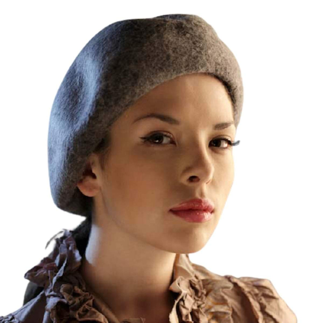 Merino Long Hair Felt Classic Beret - DivaHats Boutique