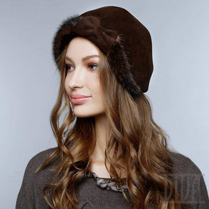 Velour fur hat  with bow and mink fur trim Ladies winter hat - DivaHats Boutique