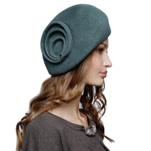 Load image into Gallery viewer, Modern fur felt velour beret with stylish trim perfect winter headwear - DivaHats Boutique