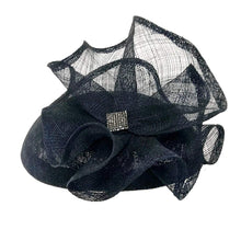 Load image into Gallery viewer, Sinamay Fascinator Hat with Flower&Rhienstones - DivaHats Boutique
