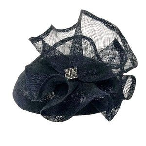 Sinamay Fascinator Hat with Flower&Rhienstones - DivaHats Boutique