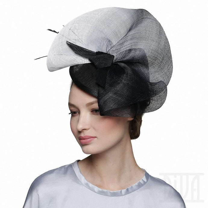Chic black&white degrade color fascinator headband tea party derby hat - DivaHats Boutique