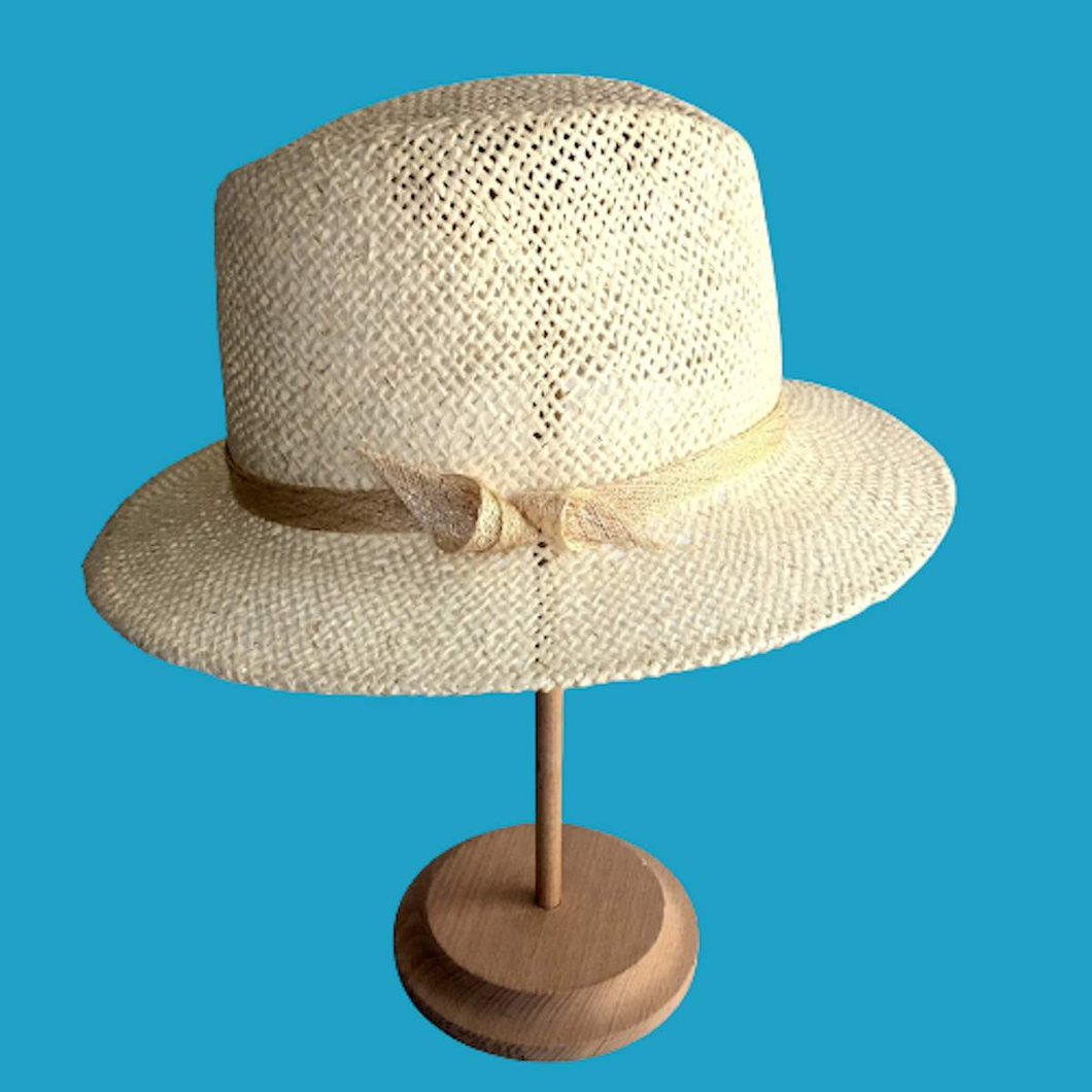 White&Gold Straw Fedora with Bow Stylish Summer Hat - DivaHats Boutique