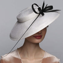 Load image into Gallery viewer, Elegant White Derby Hat With Feather&Bow Exclusive Ladies Headwear - DivaHats Boutique