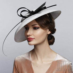 Elegant White Derby Hat With Feather&Bow Exclusive Ladies Headwear - DivaHats Boutique