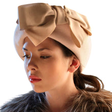 Load image into Gallery viewer, Velour Fur Felt Beret with Bow - DivaHats Boutique
