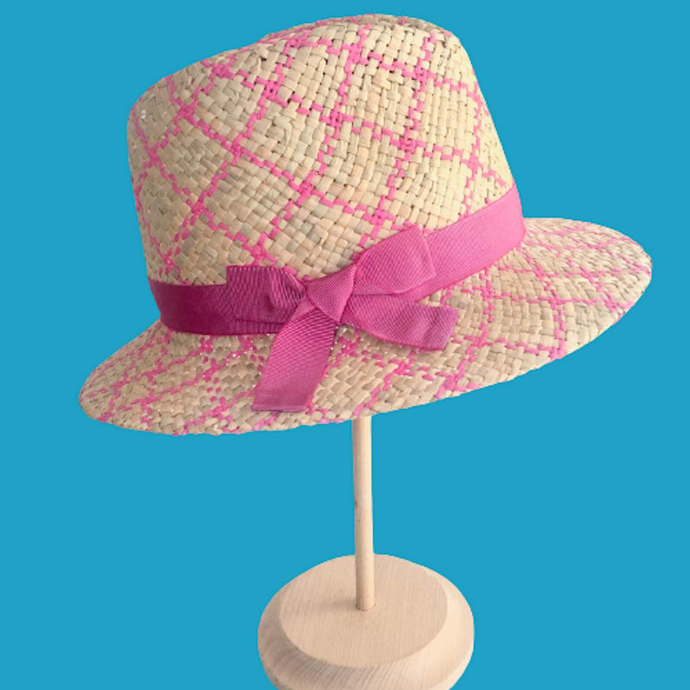 //. Men's Style Beige&Fuchsia Straw Fedora Hat with Bow Stylish Summer Hat - DivaHats Boutique