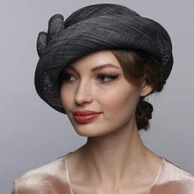 Load image into Gallery viewer, // Elegant Raffia Fabric Hat with Bow - DivaHats Boutique