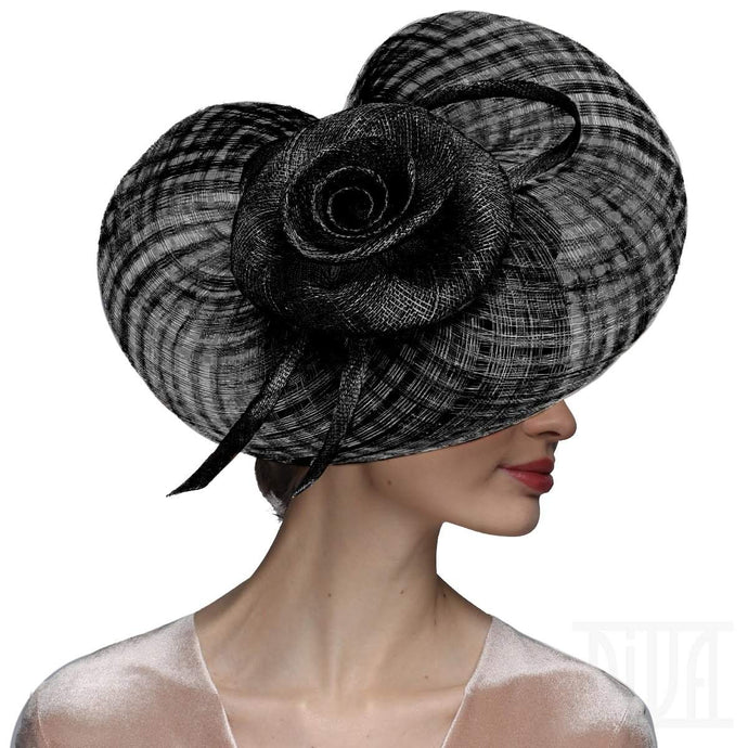 Exquisite Sinamay Fascinator Derby Hat for Women with Golden Flower - DivaHats Boutique