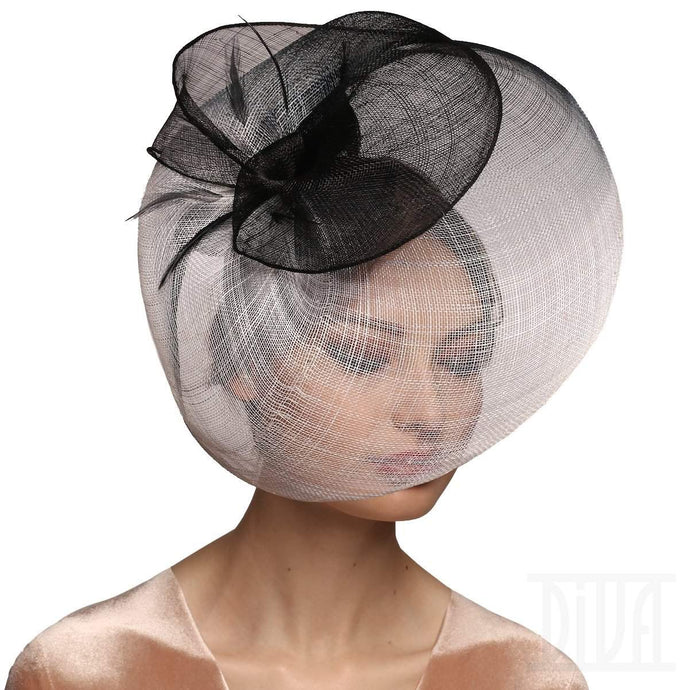 Black&White  'Pagoda' Shape Sinamay Hat - DivaHats Boutique