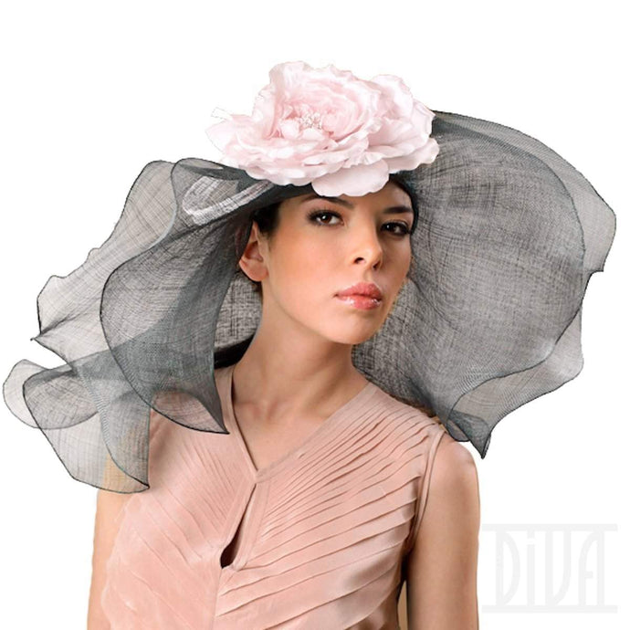 Wide&Floppy Double Brims Hat with Silk Flower - DivaHats Boutique
