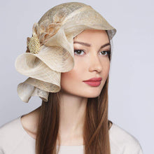 Load image into Gallery viewer, Couture hat with bow and brooch Kentucky Derby Wedding headwear - DivaHats Boutique