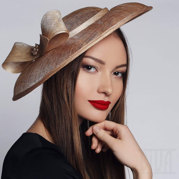 Pagoda Shape Kentucky Derby Hat Elegant Wedding Party Headwear - DivaHats Boutique