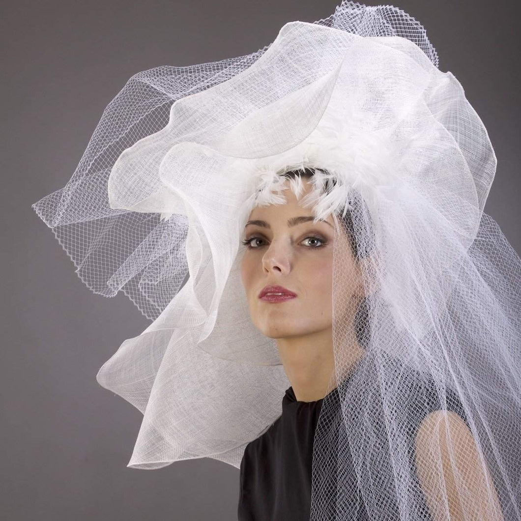 Wedding hat trimmed  feathers and veil - DivaHats Boutique