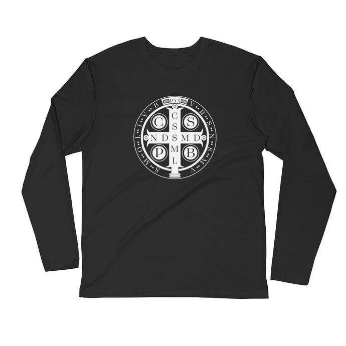 Benedictine Cross Long Sleeve T-Shirt - CATACOMBS CATHOLIC
